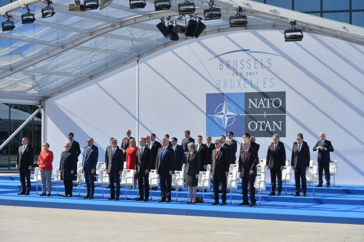 New NATO Headquarters Handover Ceremony and Fly-past - Meeting of NATO Heads of State and Government in Brussels